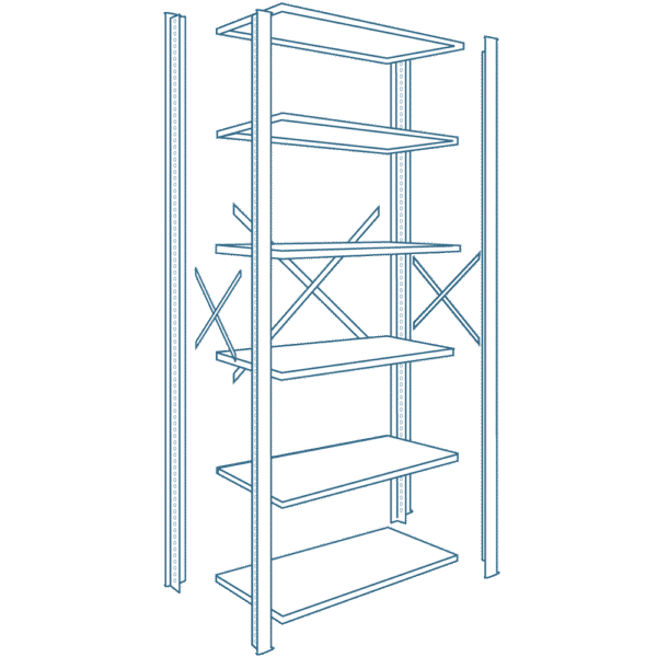 8000 Series Industrial Metal Shelving Components and Shelves
