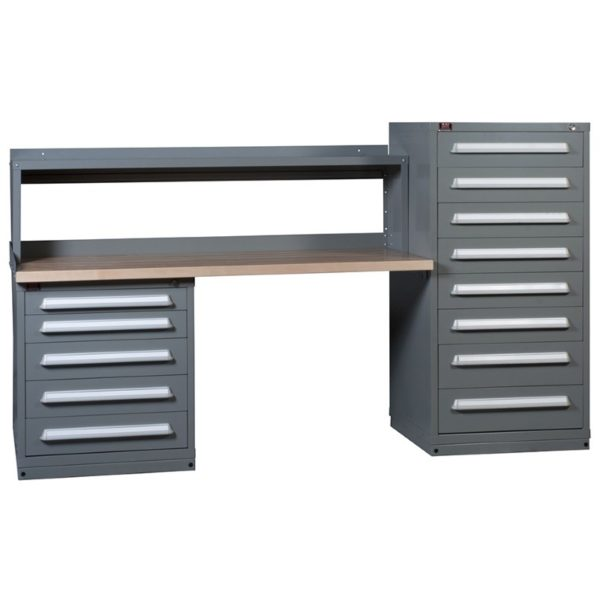 Lyon Modular Drawer Cabinet Concept 10 Two-Cabinet Hi-Lo Cabinet Workbench with Riser 251WBC10