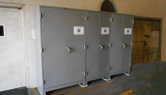 lyon all welded cabinets in a warehouse