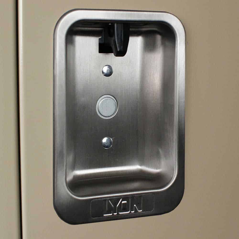 lyon locker features recessed handle putty