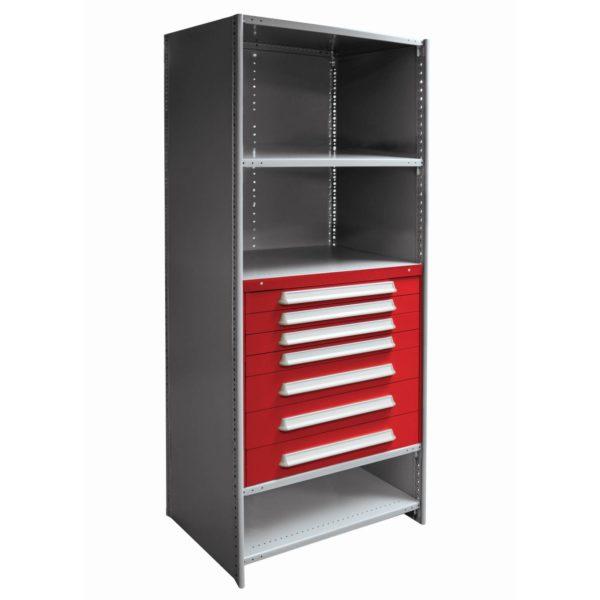 Metal Shelving with Drawers