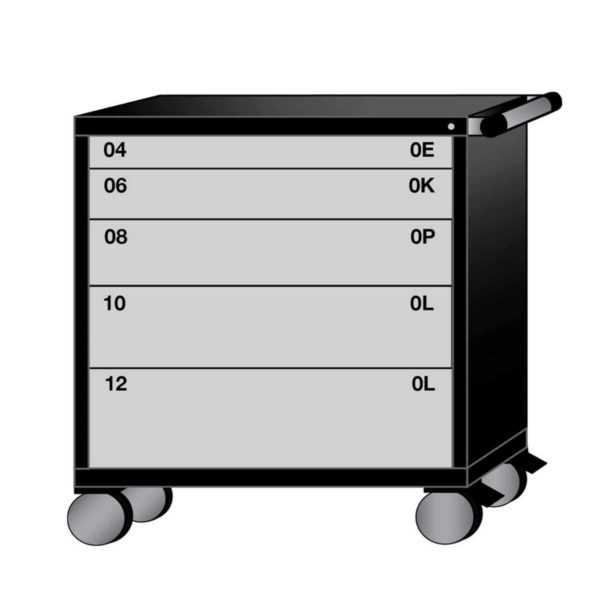 Lyon Modular Mobile Cabinet Mid-Range Height with 5 Drawers