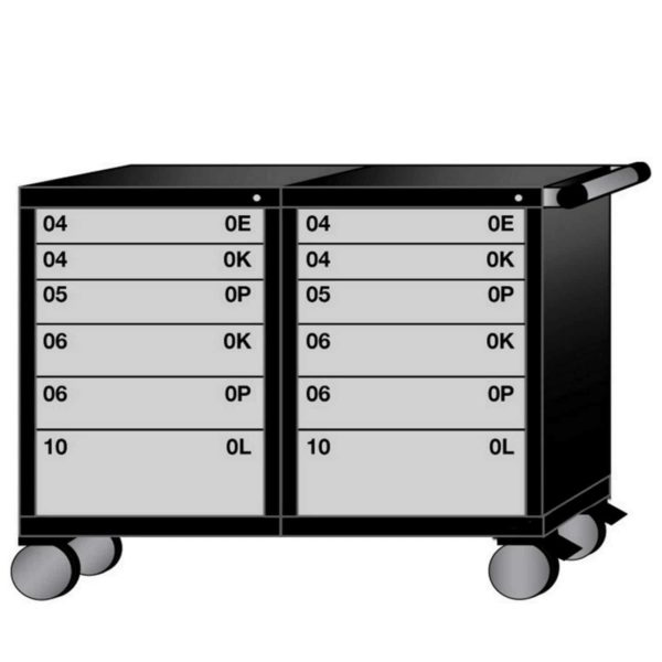 "Lyon Modular Mobile Workstation 60""W Bench Height with 12 Drawers"