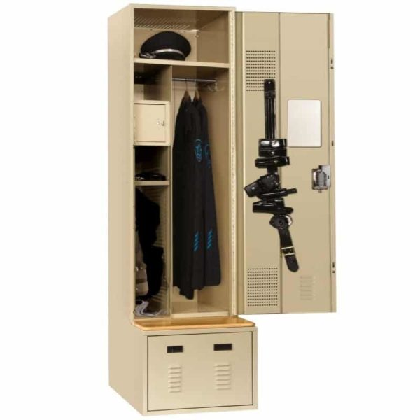 lyon valor lockers police gear storage 24 inch wide putty