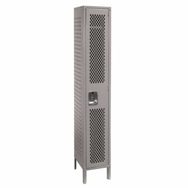 lyon ventilated locker single tier one wide dove gray